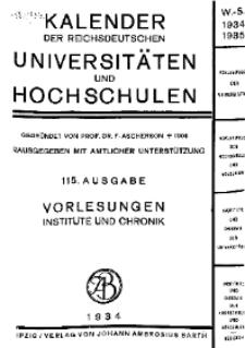 Kalender der Deutschen Universitäten und Hochschulen 1934/35