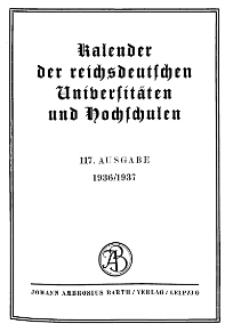 Kalender der Deutschen Universitäten und Hochschulen 1936/1937