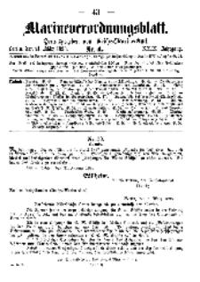 Marineverordnungsblatt, Nr. 4, 1898