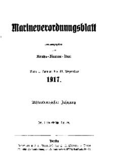 Marineverordnungsblatt, Nr. 1, 1917