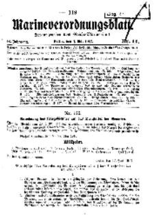 Marineverordnungsblatt, Nr.11, 1917