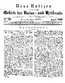 Neue Notizen aus dem Gebiete der Natur- und Heilkunde, 1843 (Bd. XXV, nr 9), Februar - No 537