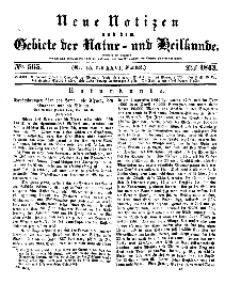 Neue Notizen aus dem Gebiete der Natur- und Heilkunde, 1843 (Bd. XXVI, nr 15), Mai - No 565