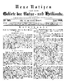 Neue Notizen aus dem Gebiete der Natur- und Heilkunde, 1843 (Bd. XXVI, nr 17), Juni - No 567