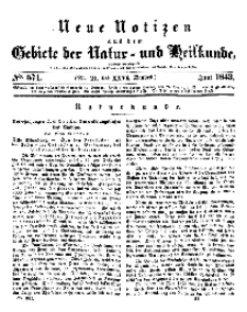 Neue Notizen aus dem Gebiete der Natur- und Heilkunde, 1843 (Bd. XXVI, nr 21), Juni - No 571