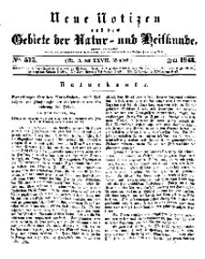 Neue Notizen aus dem Gebiete der Natur- und Heilkunde, 1843 (Bd. XXVII, nr 3), Juli - No 575
