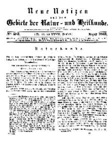 Neue Notizen aus dem Gebiete der Natur- und Heilkunde, 1843 (Bd. XXVII, nr 11), August - No 583