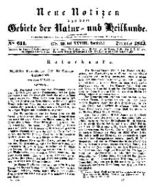 Neue Notizen aus dem Gebiete der Natur- und Heilkunde, 1843 (Bd. XXVIII, nr 20), Dezember - No 614