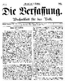Die Verfassung : Wochenblatt für das Volk, Sonnabend, 1. October, Nr 1, 1864