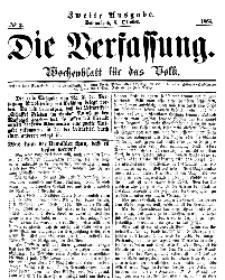 Die Verfassung : Wochenblatt für das Volk, Sonnabend, 8. October, Nr 2, 1864
