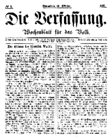 Die Verfassung : Wochenblatt für das Volk, Sonnabend, 15. October, Nr 3, 1864