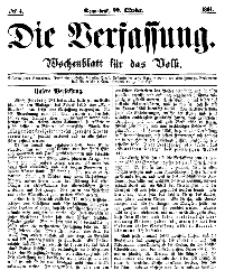 Die Verfassung : Wochenblatt für das Volk, Sonnabend, 22. October, Nr 4, 1864