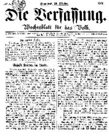Die Verfassung : Wochenblatt für das Volk, Sonnabend, 29. October, Nr 5, 1864