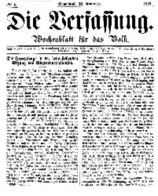 Die Verfassung : Wochenblatt für das Volk, Sonnabend, 12. November, Nr 7, 1864