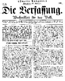Die Verfassung : Wochenblatt für das Volk, Sonnabend, 19. November, Nr 8, 1864