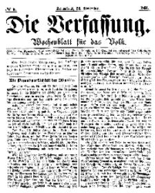 Die Verfassung : Wochenblatt für das Volk, Sonnabend, 26. November, Nr 9, 1864