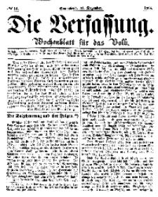 Die Verfassung : Wochenblatt für das Volk, Sonnabend, 31. Dezember, Nr 14, 1864