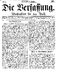 Die Verfassung : Wochenblatt für das Volk, Sonnabend, 1. Januar, Nr 1, 1865