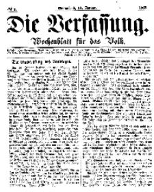 Die Verfassung : Wochenblatt für das Volk, Sonnabend, 14. Januar, Nr 2, 1865