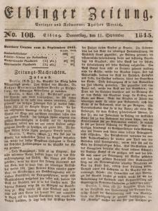 Elbinger Zeitung, No. 108 Donnerstag, 11. September 1845