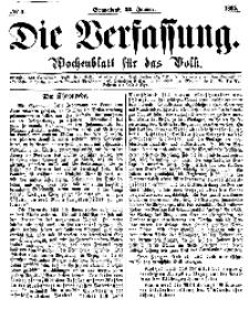 Die Verfassung : Wochenblatt für das Volk, Sonnabend, 21. Januar, Nr 3, 1865