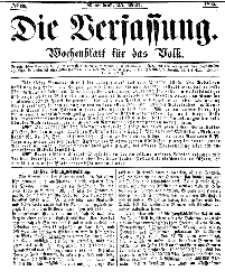 Die Verfassung : Wochenblatt für das Volk, Sonnabend, 25. März, Nr 12, 1865
