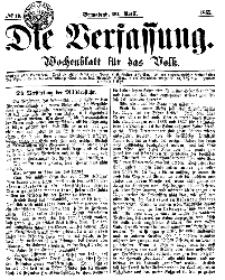 Die Verfassung : Wochenblatt für das Volk, Sonnabend, 29. April, Nr 17, 1865