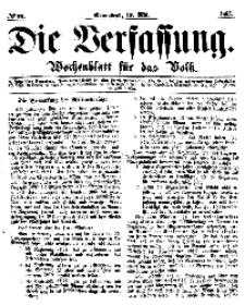Die Verfassung : Wochenblatt für das Volk, Sonnabend, 13. Mai, Nr 19, 1865