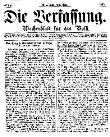 Die Verfassung : Wochenblatt für das Volk, Sonnabend, 20. Mai, Nr 20, 1865