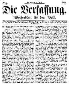 Die Verfassung : Wochenblatt für das Volk, Sonnabend, 3. Juni, Nr 22, 1865