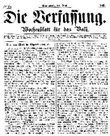 Die Verfassung : Wochenblatt für das Volk, Sonnabend, 10. Juni, Nr 23, 1865