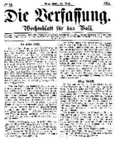 Die Verfassung : Wochenblatt für das Volk, Sonnabend, 17. Juni, Nr 24, 1865