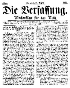 Die Verfassung : Wochenblatt für das Volk, Sonnabend, 26. August, Nr 34, 1865