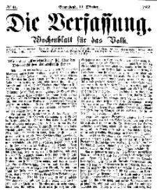 Die Verfassung : Wochenblatt für das Volk, Sonnabend, 14. October, Nr 41, 1865