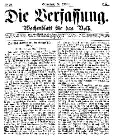Die Verfassung : Wochenblatt für das Volk, Sonnabend, 21. October, Nr 42, 1865