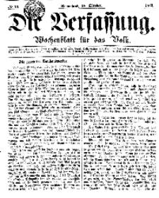 Die Verfassung : Wochenblatt für das Volk, Sonnabend, 28. October, Nr 43, 1865