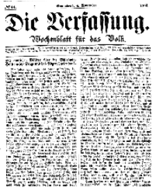 Die Verfassung : Wochenblatt für das Volk, Sonnabend, 4. November, Nr 44, 1865