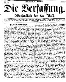 Die Verfassung : Wochenblatt für das Volk, Sonnabend, 11. November, Nr 45, 1865