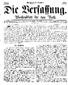 Die Verfassung : Wochenblatt für das Volk, Sonnabend, 9. Dezember, Nr 49, 1865