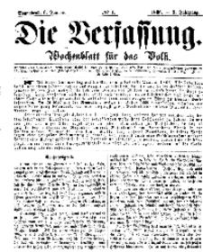 Die Verfassung : Wochenblatt für das Volk, Sonnabend, 6. Januar, Nr 1, 1866