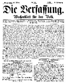 Die Verfassung : Wochenblatt für das Volk, Sonnabend, 24. März, Nr 12, 1866