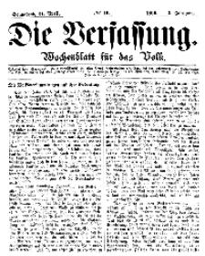 Die Verfassung : Wochenblatt für das Volk, Sonnabend, 21. April, Nr 16, 1866