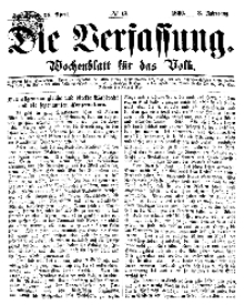 Die Verfassung : Wochenblatt für das Volk, Sonnabend, 28. April, Nr 17, 1866