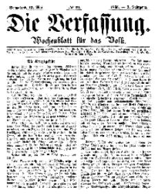 Die Verfassung : Wochenblatt für das Volk, Sonnabend, 12. Mai, Nr 19, 1866