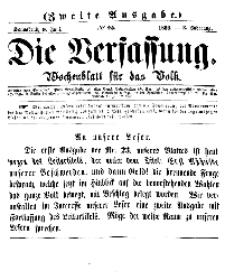 Die Verfassung : Wochenblatt für das Volk, Sonnabend, 9. Juni, Nr 23, 1866