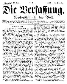 Die Verfassung : Wochenblatt für das Volk, Sonnabend, 14. Juli, Nr 28, 1866