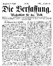 Die Verfassung : Wochenblatt für das Volk, Sonnabend, 18. August, Nr 33, 1866