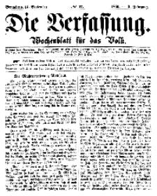 Die Verfassung : Wochenblatt für das Volk, Sonnabend, 15. September, Nr 37, 1866
