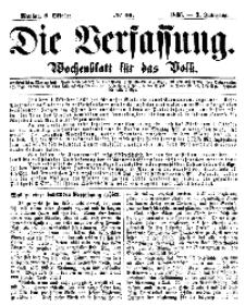 Die Verfassung : Wochenblatt für das Volk, Montag, 8. October, Nr 40, 1866