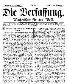Die Verfassung : Wochenblatt für das Volk, Montag, 15. October, Nr 41, 1866